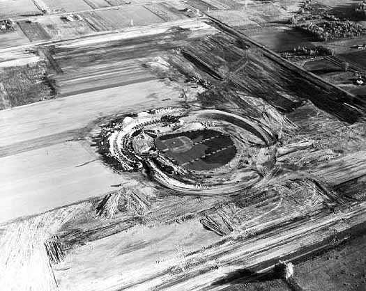 Black and white photograph of Metropolitan Stadium under construction. Photograph: Minneapolis Star Journal Tribune, 1955.
