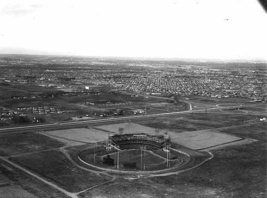Black and white photograph of Metropolitan Stadium aerial, Bloomington, 1960. Photograph: Minneapolis Star Journal Tribune.