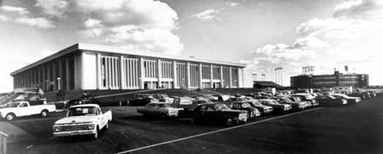 Metropolitan Sports Center, ca. 1967. The complex, nicknamed the Met Center, was located near the Metropolitan Stadium in Bloomington. The North Stars hockey team played there for their entire career in Minnesota.