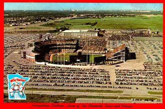 Color image of Metropolitan Stadium, Home of the Minnesota Twins and Vikings, ca. 1960.
