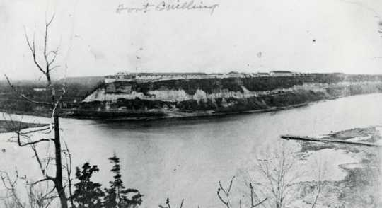 Black and white photograph of Fort Snelling, c.1865.