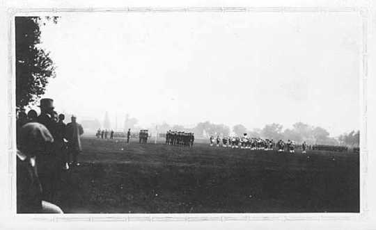 Black and white photograph of Third Infantry passing in review for Maud Hart Lovelace, author of Early Candlelight, which was set at Fort Snelling, September 1929.