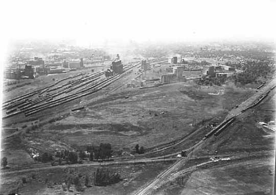 Black and white aerial view showing Great Northern Railway yards in southeast Minneapolis , ca. 1921. Photograph by Paul W. Hamilton.