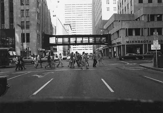Black and white photograph of skyway near Sixth and Marquette, Minneapolis, c.1975.