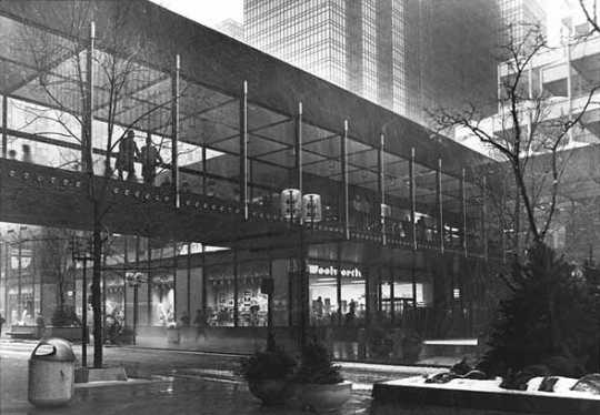 Black and white photograph of skyway spanning Nicolett Mall, Minneapolis, c.1974.