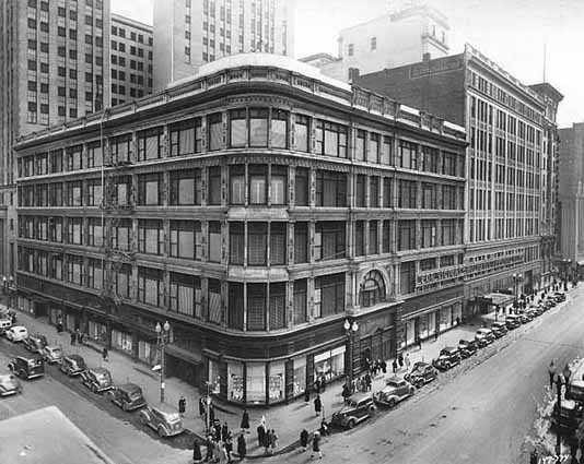 Black and white photograph of Donaldson's Glass Block, 1944. Photograph by Norton & Peel.