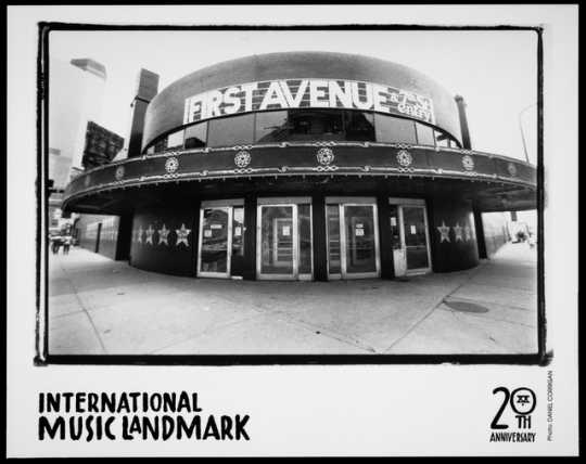 Black and white photograph of First Avenue, 29 North Seventh Street, Minneapolis, ca. 1990. Photograph by Dan Corrigan.