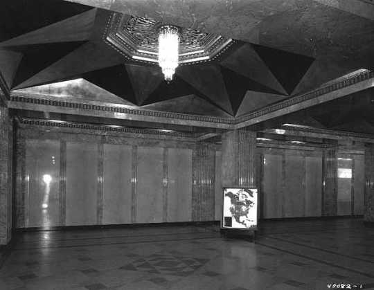 Black and white photograph of the interior of the Foshay Tower, 1929–1930.