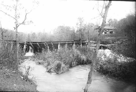 Black and white photograph of Godfrey Mill dam, Minnehaha Falls, c. 1889.