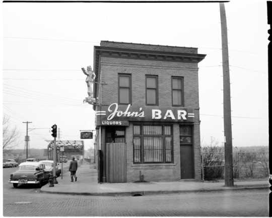 John's Bar and Funhouse (2500 Marshall Street Northeast, Minneapolis), April 2, 1953. Photograph by the Minneapolis Star Tribune.