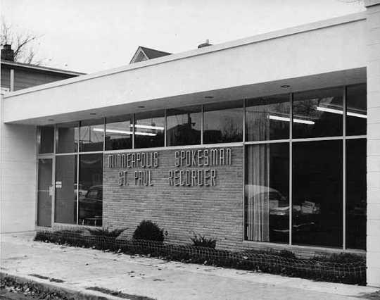 Black and white photograph of the Minneapolis Spokesman and St. Paul Recorder office, 3744 Fourth Avenue South, 1958.