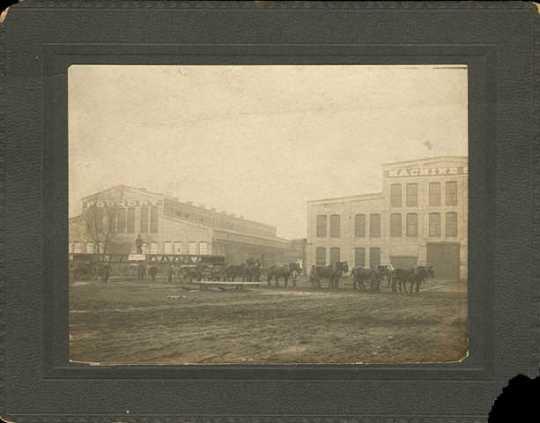 Black and white photograph of Minneapolis-Moline, Lake Street and Minnehaha, Minneapolis, c.1895.