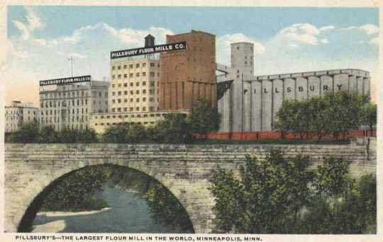 "Colorized postcard depicting the Pillsbury milling complex, including the Pillsbury ""A"" Mill, ca. 1920."