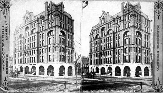 Black and white photograph of the Tribune Building, Fourth Street and First Avenue South, Minneapolis, 1887.