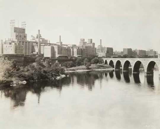 Black and white photograph of the West Side Milling District, Minneapolis, ca. 1920. Photograph by Hibbard Studio.