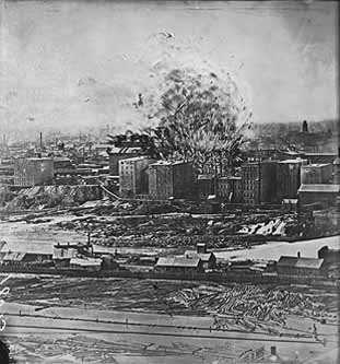 Black and white image of the Washburn A Mill explosion, 1878.
