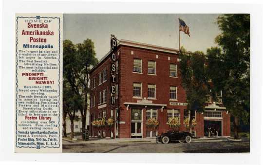 Color postcard of the Svenska Amerikanska Posten building, ca. 1935.