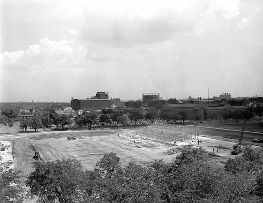 Black and white photograph of construction of Parade Stadium, June 14, 1951.