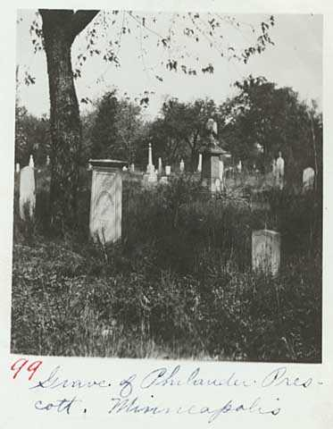 Black and white photograph of Philander Prescott's grave marker, ca. 1920.