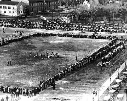 Black and white photograph of a small section of bleachers at the Parade in 1925 couldn't hold all the spectators.