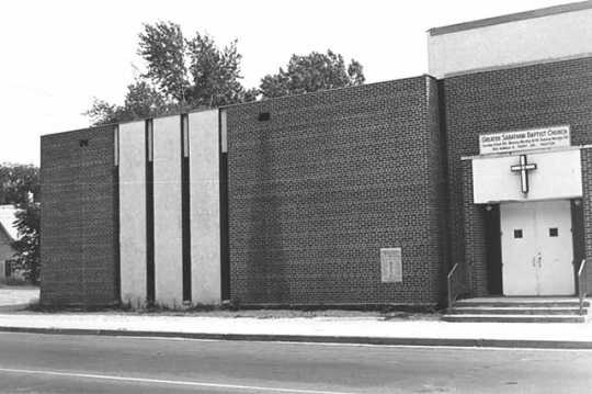 Black and white photograph of Greater Sabathani Baptist Church, 3805 Third Avenue South, Minneapolis, 1975.