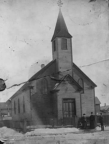 Black and white photograph of the original St. Mary's Orthodox Cathedral building in Minneapolis, 1888.