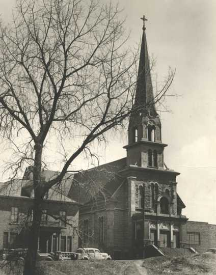 Black and white photograph of Our Lady of Lourdes Church, 27 Prince Street, Minneapolis, 1948.