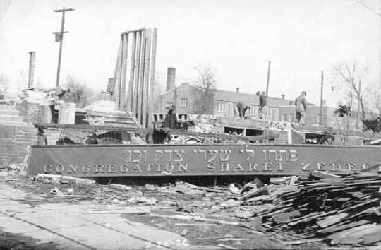 Black and white photograph of the razing of Sharei Zedeck Synagogue, 726 Bryant Ave. N, Minneapolis, 1936.