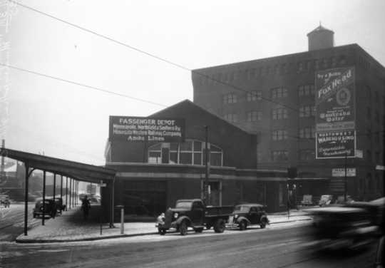 Black and white photograph of the combined passenger depot for the MN&S at Minneapolis, 1937.