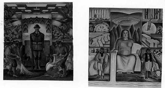 Black and white photograph of Federal Art Project murals by Lucia Wiley and Elsa Jemne in the Minneapolis Armory, October 15, 1936.