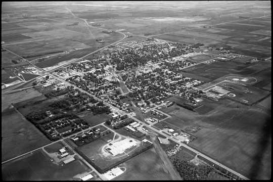 Aerial view of Slayton, 1983. Photograph by Vincent H. Mart.