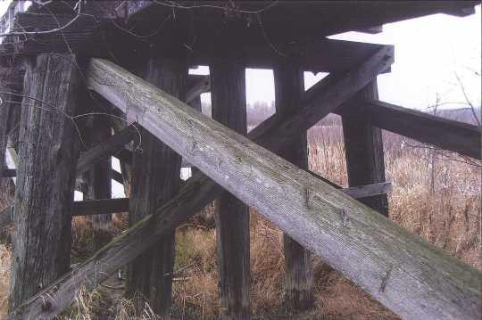 Minnesota and International Railway trestle bridge bent with sway brace and cross brace