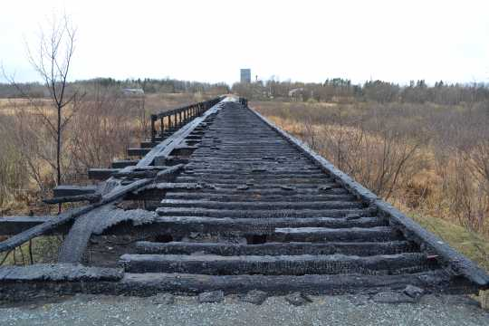 Minnesota and International Railway trestle bridge after the April 2015 fire