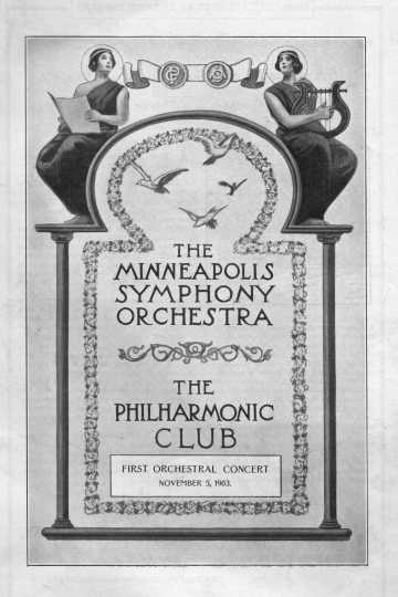 Black and white scan of the initial concert program of the Minneapolis Symphony Orchestra at Exhibition Auditorium, Minneapolis, Minnesota, November 5, 1903.