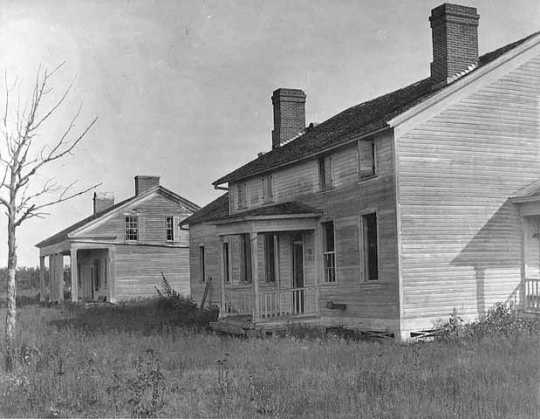 Black and white photograph of abandoned Fort Ripley, c.1895.