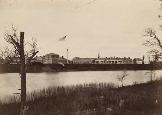 Black and white photograph of Fort Ripley, 1862.