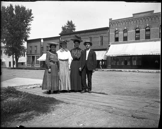 Black and white photograph of people on Main Street, Fulda. Photograph by Dr. Emil King, ca. 1905.
