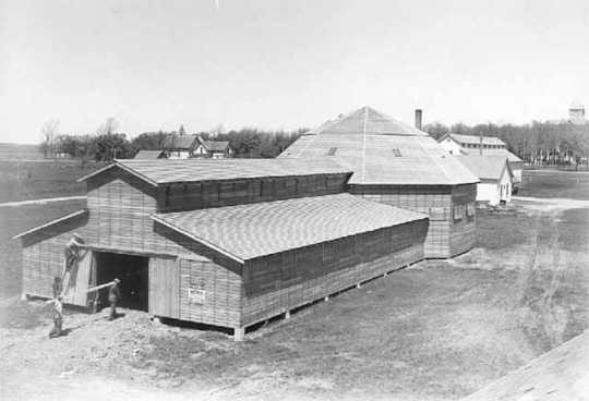 Black and white photograph of a 4-H Club Building on the Murray County Fairgrounds in Slayton, 1936.