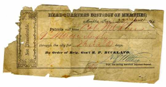 Handwritten paper pass for Colonel Alexander Wilkin, 1864.