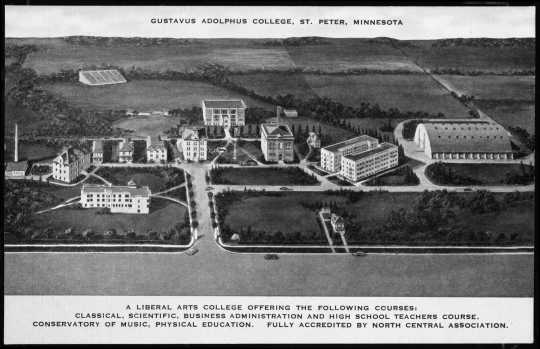 Black and white photograph of the Gustavus Adolphus College campus, St. Peter, c. 1945.