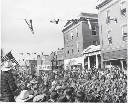 Black and white photograph of King Turkey Day Program, Worthington, Minnesota, ca. 1946.