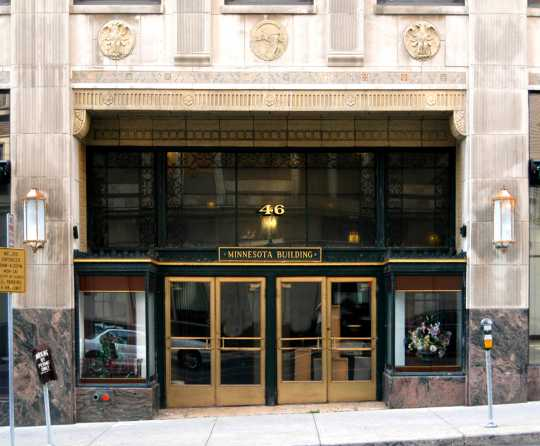 Color image of the main entrance of the Minnesota Building, 2009.
