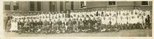 Black and white photograph of personnel, Rochester State Hospital, 1925.