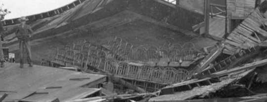 Black and white photograph of Waconia City Hall after the storm, 1904.
