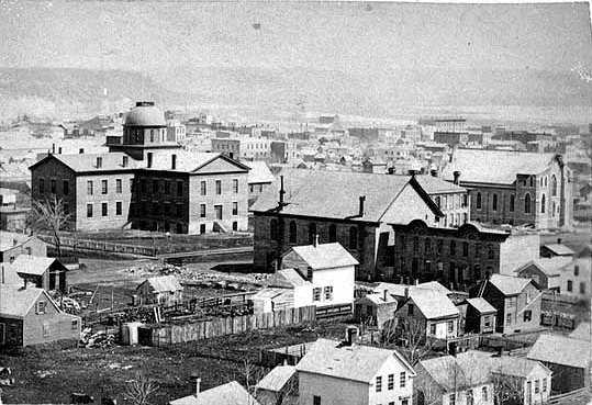 Black and white photograph of St. Paul, showing the first state capitol, ca. 1868. Photographed by Benjamin Franklin Upton.