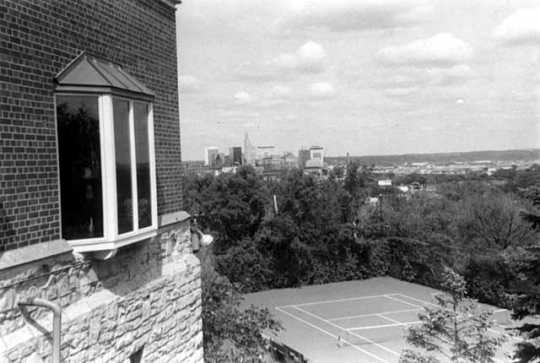 Black and white photograph of a view of downtown St. Paul and the lower West Side from the University Club, June 22, 1977. Photographed by Julian G. Plante.