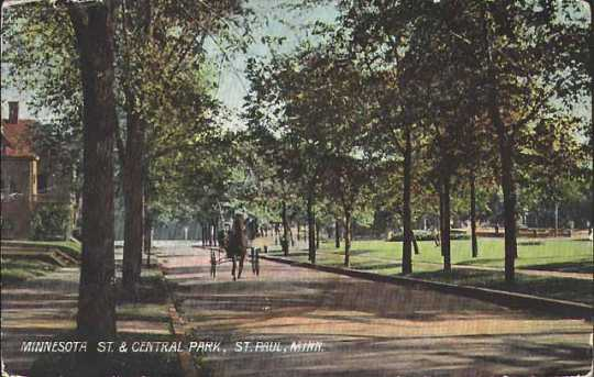Tinted photographic postcard on paper depicting Minnesota Street in St. Paul's Central Park, c.1895.