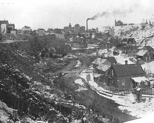 Black and white photograph of Swede Hollow, St. Paul, c.1910.