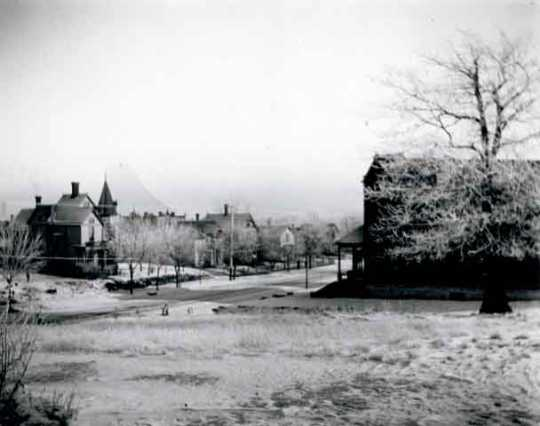 Black and white photograph of Rondo Avenue from the Josiah B. Cheney residence (604 Rondo Avenue), ca. 1900.