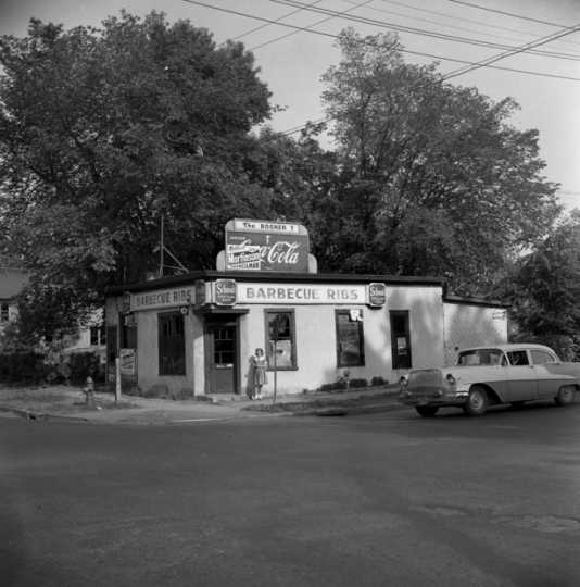 Black and white photograph of the Booker T. Cafe & Tavern, 381–383 Rondo Avenue, St. Paul, 1960.